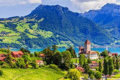 Spiez, Switzerland. The town of Spiez by Thun lake in the Berner Oberland royalty free stock photos