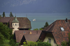 Spiez village ,Lake Thun. Switzerland Royalty Free Stock Photo