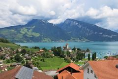 Spiez. Village at lake Thunersee Royalty Free Stock Images