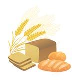 Spighette del grano e del pane, illustrazione Fotografia Stock