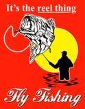 Spigola di cattura del pescatore della mosca illustrazione di stock