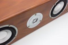 Spigola e triplo dell'altoparlante in bella scatola di legno Immagine Stock