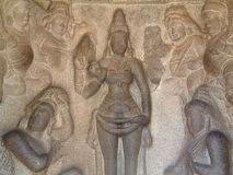 Spigola-Rilievo del tempiale di Mahabalipuram fotografie stock