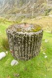 Spigot Mortar , War Two invasion defence,. Spigot Mortar Emplacement, World War Two defense, Nant Francon Pass, Ogwen Cottage, Gwynedd, Wales, United Kingdom Royalty Free Stock Photos