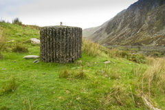 Spigot Mortar, War Two invasion defense,. Spigot Mortar Emplacement, World War Two defense, Nant Francon Pass, Ogwen Cottage, Gwynedd, Wales, United Kingdom Stock Photos