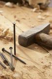 Spijker en hamer Royalty-vrije Stock Afbeelding