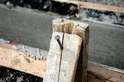Spijkers in hout Stock Afbeeldingen