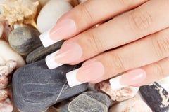 Spijkers met lange kunstmatige Franse manicure Stock Afbeeldingen