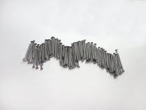 Spijkers (voor opgemaakt planking), ingewikkeld stock fotografie