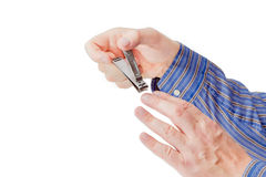 Spika clipperen i stilen för den sammansatta spaken i manliga händer Royaltyfria Foton