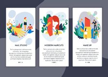 Spika för frisyr- och makeupwebbsidan för studio moderna mallar vektor illustrationer