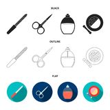 Spika mappen, sax för spikar, parfymerar, pudrar med en borste Fastställda samlingssymboler för makeup i svart, lägenhet, översik vektor illustrationer