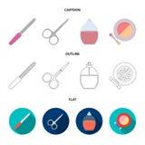 Spika mappen, sax för spikar, parfymerar, pudrar med en borste Fastställda samlingssymboler för makeup i tecknade filmen, översik vektor illustrationer
