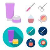 Spika mappen, sax för spikar, parfymerar, pudrar med en borste Fastställda samlingssymboler för makeup i tecknade filmen, lägenhe royaltyfri illustrationer