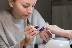 Spika polermedel som appliceras till handen, schellacksvartfärg Royaltyfri Fotografi