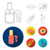 Spika polermedel, tonade ögonfrans, kanter med läppstift, hårgem Fastställda samlingssymboler för makeup i översikten, lägenhetst royaltyfri illustrationer