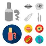 Spika polermedel, tonade ögonfrans, kanter med läppstift, hårgem Fastställda samlingssymboler för makeup i monokrom, lägenhetstil royaltyfri illustrationer