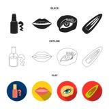 Spika polermedel, tonade ögonfrans, kanter med läppstift, hårgem Fastställda samlingssymboler för makeup i svart, lägenhet, övers stock illustrationer