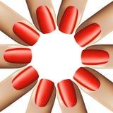 Spika röd manikyr på vit bakgrund illustration 3d vektor Arkivfoto