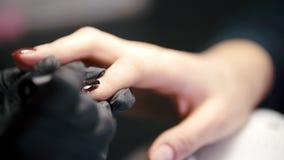 Spikar den övre sikten för slutet av polering - kvinnlign får yrkesmässig manikyr i skönhet shoppar stock video