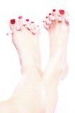 spikar foten kvinnlig polerad red Royaltyfri Fotografi