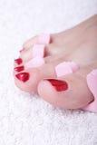 spikar foten kvinnlig polerad red Arkivbilder