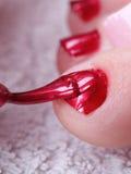 spikar foten kvinnlig polerad red Fotografering för Bildbyråer