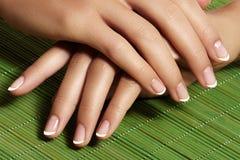 Spikar med perfekt fransk manikyr Omsorg för kvinnliga händer arkivbilder