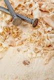 spikar wood shavings Arkivbild