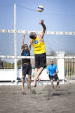 Spike. Man jumping attack. Beach volleyball Stock Photography