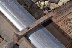 The Spike. A railway spike on a rail on a railroad tie stock image
