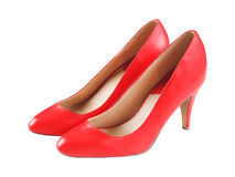 Spike red leather high heels isolated on white Stock Photos