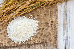 Spike and rice seed in burlap sack on a wooden table Royalty Free Stock Photos