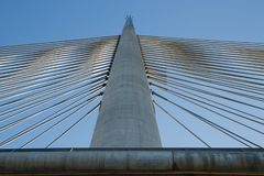 Spike on the steel cable bridge view from the bottom royalty free stock photos
