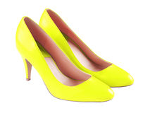 Spike yellow leather high heels isolated on white Stock Image