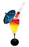 Spiked cocktail with umbrella Royalty Free Stock Photos