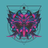 Spiked demon mask sacred geometry. Samurai mask design, this will be very cool on clothes, stickers, posters or anything else you want vector illustration
