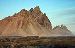 Spiked Mountains at th Seashore of Iceland Stock Images