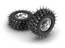 Spiked tires Royalty Free Stock Images