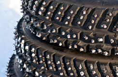 Spiked tyres Royalty Free Stock Image