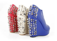 Spiked wedges shoes royalty free stock photo