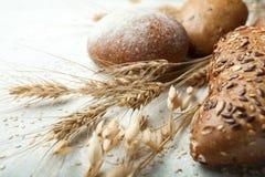 Spikelets i banatek adra, świeży piec chleb z białą skorupą, kropiącą z mąką obraz stock
