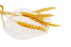 Spikelets of wheat on flour spillage.Isolated. Royalty Free Stock Image