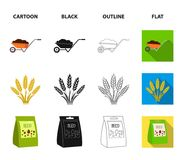 Spikelets of wheat, a packet of seeds, a tractor, gloves.Farm set collection icons in cartoon,black,outline,flat style. Vector symbol stock illustration Royalty Free Stock Photography