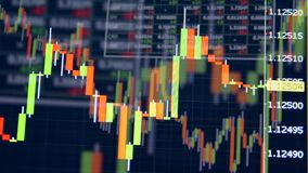 Spikes moving on a stock market graph on a screen. Display of Stock market quotes. Spikes moving on a stock market graph on a screen. 4K stock video footage