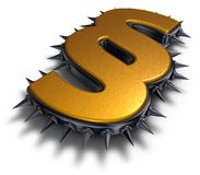 Spikes paragraph. Paragraph symbol with metal spikes - 3d rendering Royalty Free Stock Images