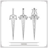 Spiky Fantasy Sword Lineart Royalty Free Stock Images