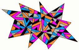 Spiky gel pen drawing. A gel pen pen drawing of a spiky pattern made of lines filled in with colour Stock Photo