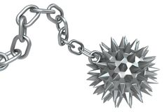 Spiky Heavy Ball Metal Chain. Metal heavy spiky ball chain, isolated, 3d illustration, horizontal, over white Stock Photos