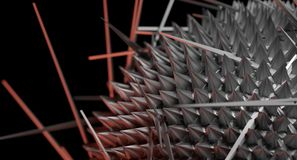 Spiky Metal Sphere On Dark Background Closeup Stock Photography